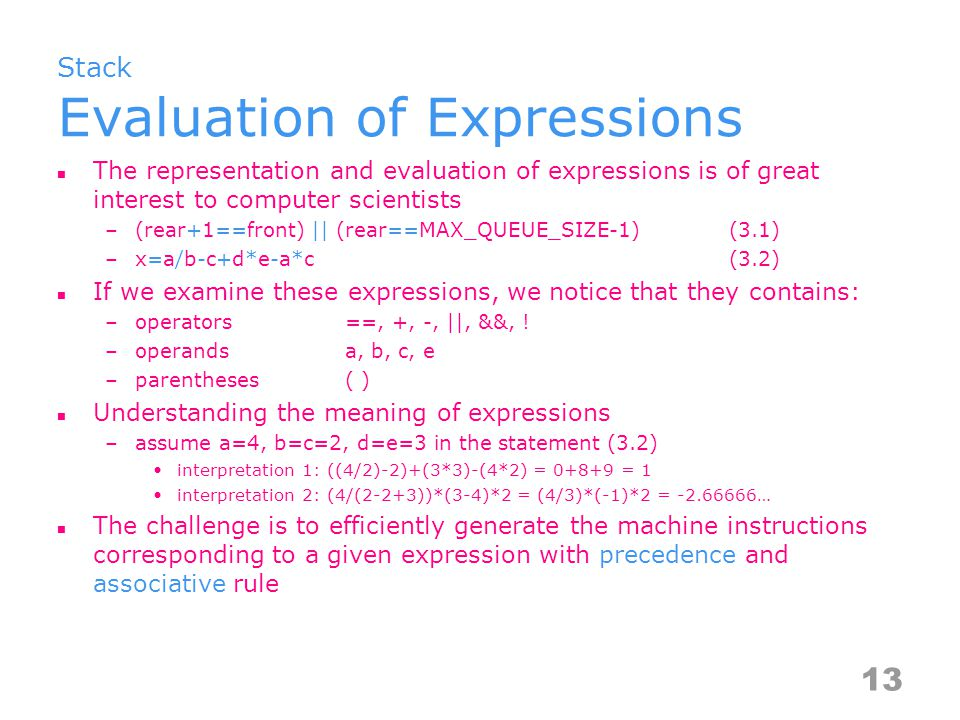 Stack Evaluation of Expressions