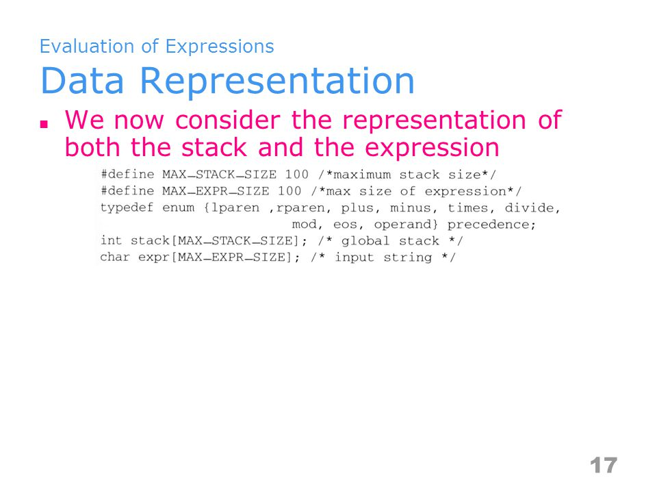 Evaluation of Expressions Data Representation