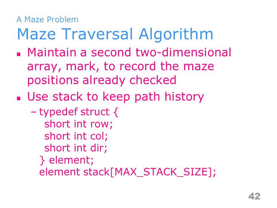 A Maze Problem Maze Traversal Algorithm