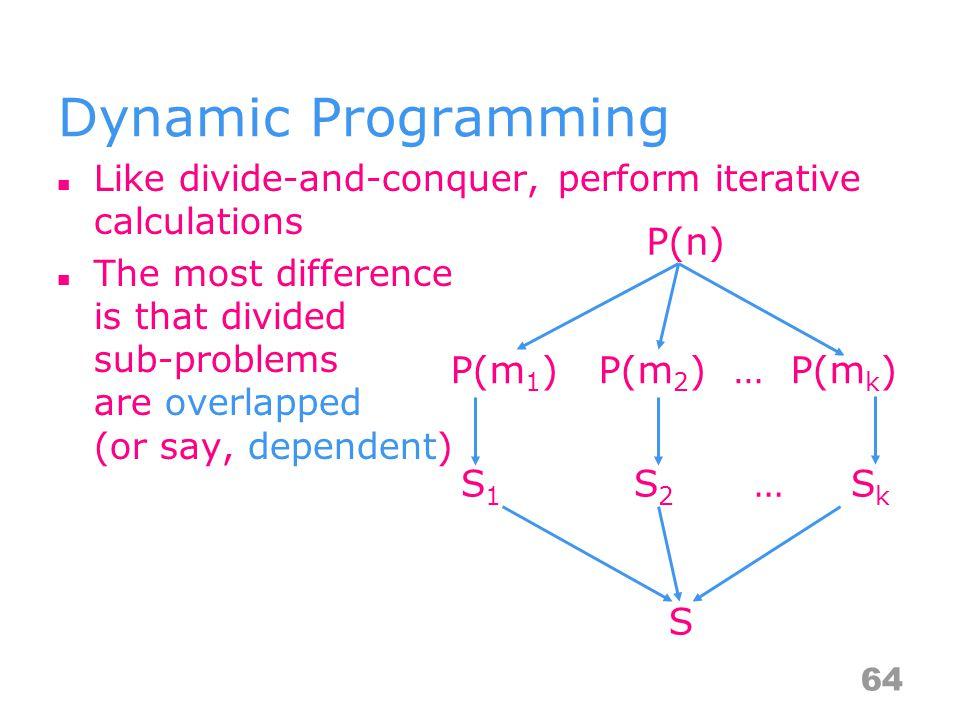 Dynamic Programming P(n) P(m1) P(m2) … P(mk) S1 S2 … Sk S