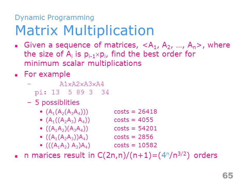 Dynamic Programming Matrix Multiplication