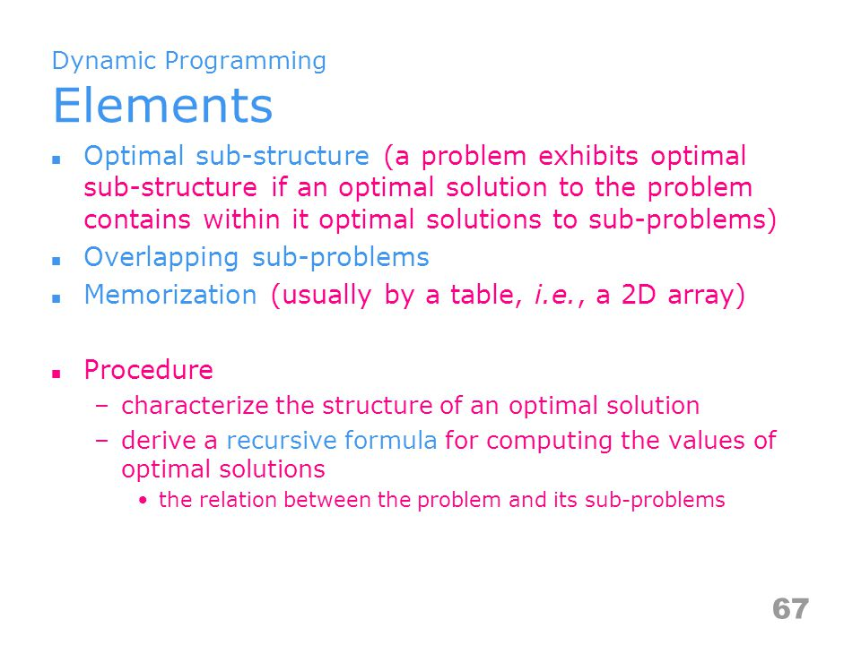 Dynamic Programming Elements