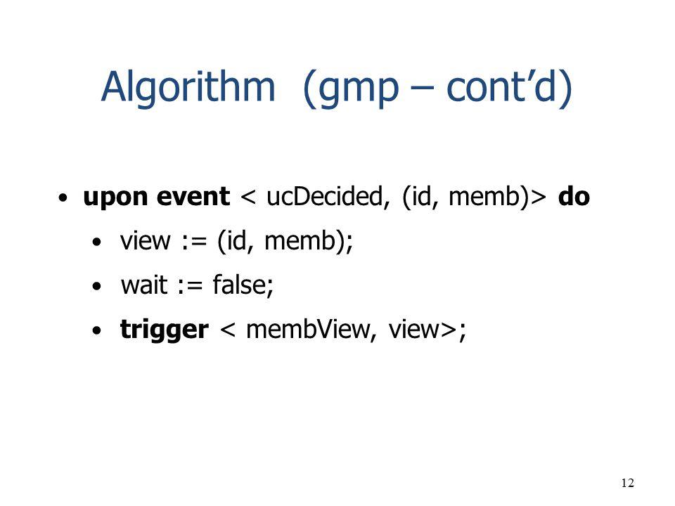 Algorithm (gmp – cont'd)