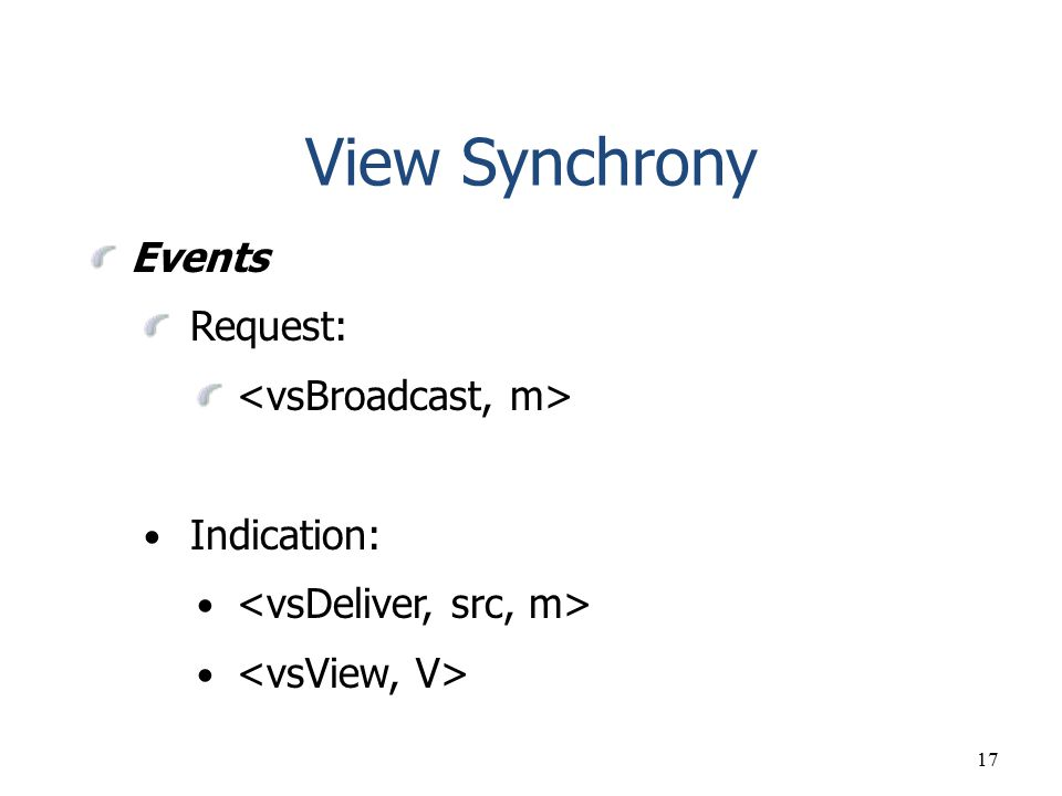 View Synchrony Events Request: <vsBroadcast, m> Indication: