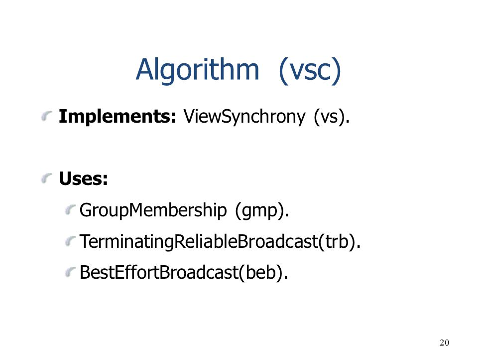 Algorithm (vsc) Implements: ViewSynchrony (vs). Uses: