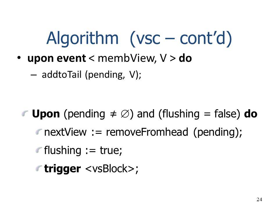 Algorithm (vsc – cont'd)