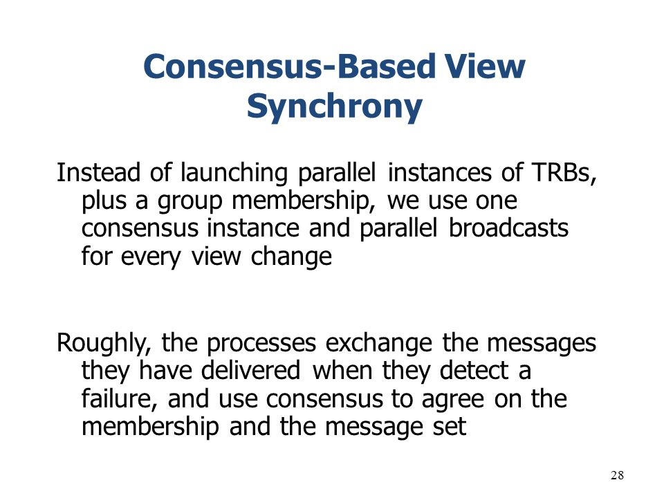 Consensus-Based View Synchrony