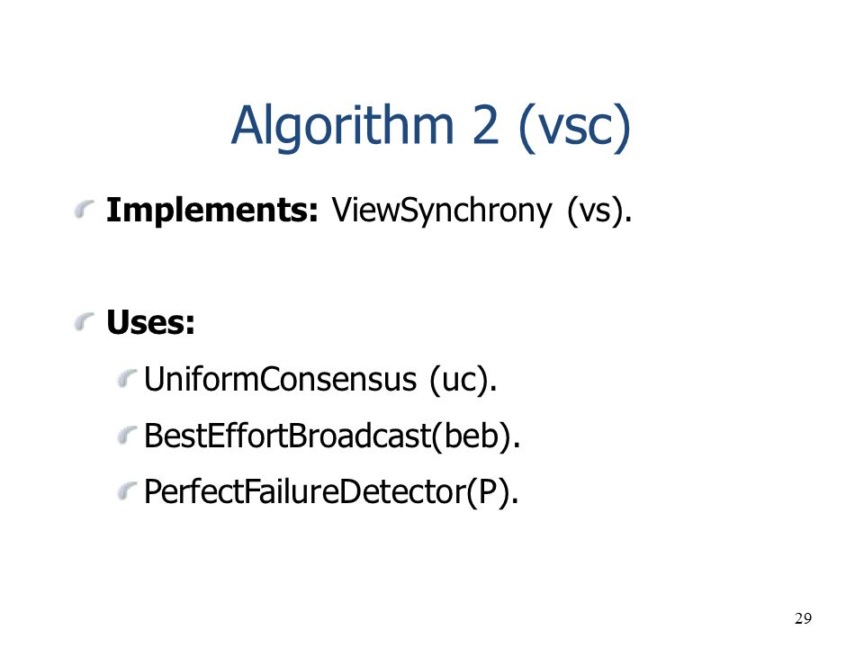 Algorithm 2 (vsc) Implements: ViewSynchrony (vs). Uses: