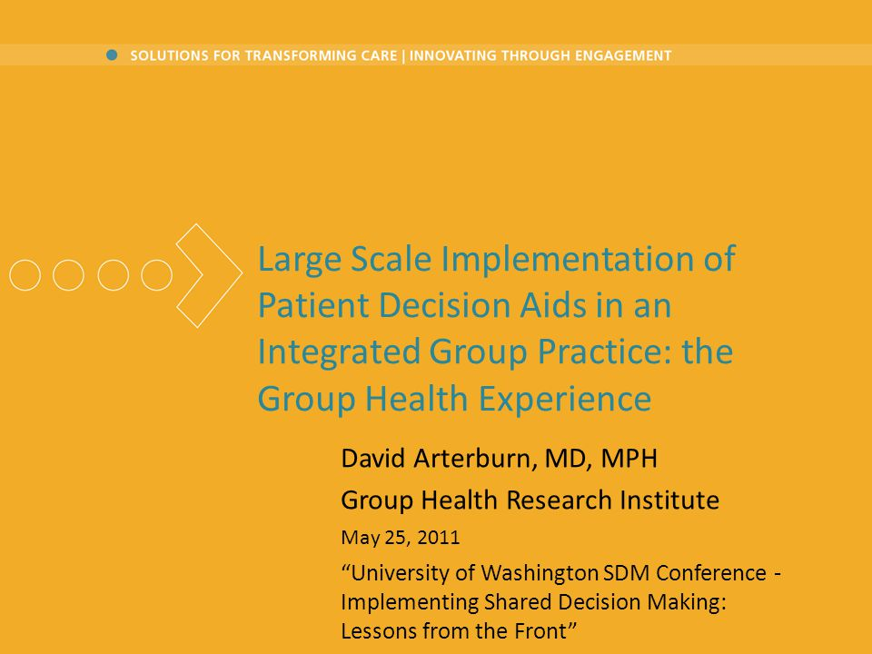 Large Scale Implementation of Patient Decision Aids in an Integrated Group Practice: the Group Health Experience