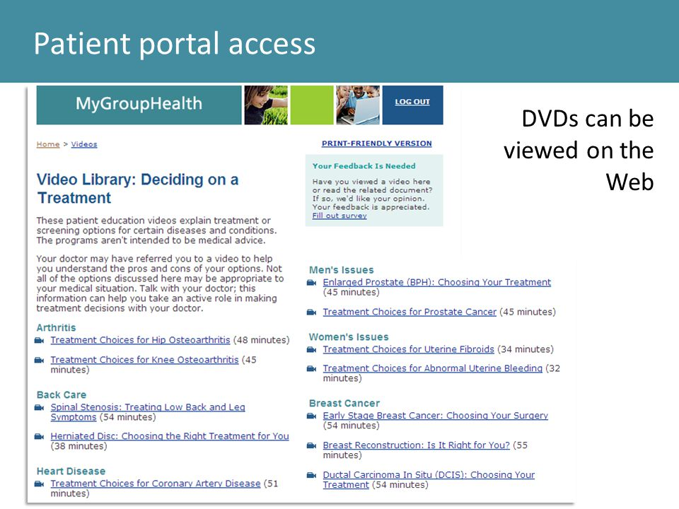 Patient portal access DVDs can be viewed on the Web