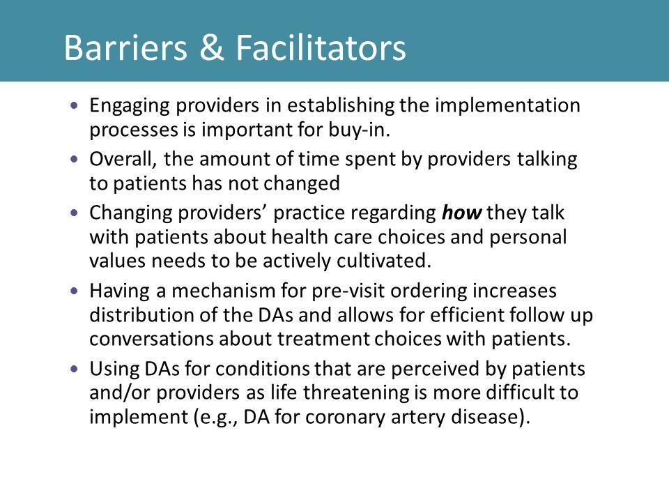 Barriers & Facilitators