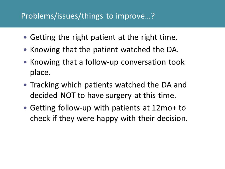 Problems/issues/things to improve…