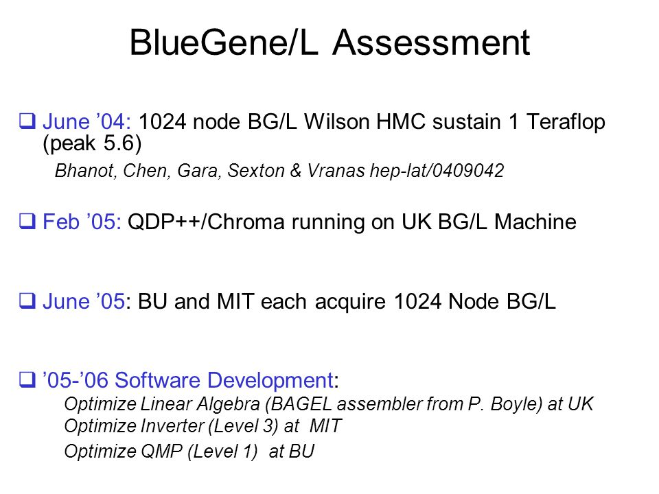 BlueGene/L Assessment