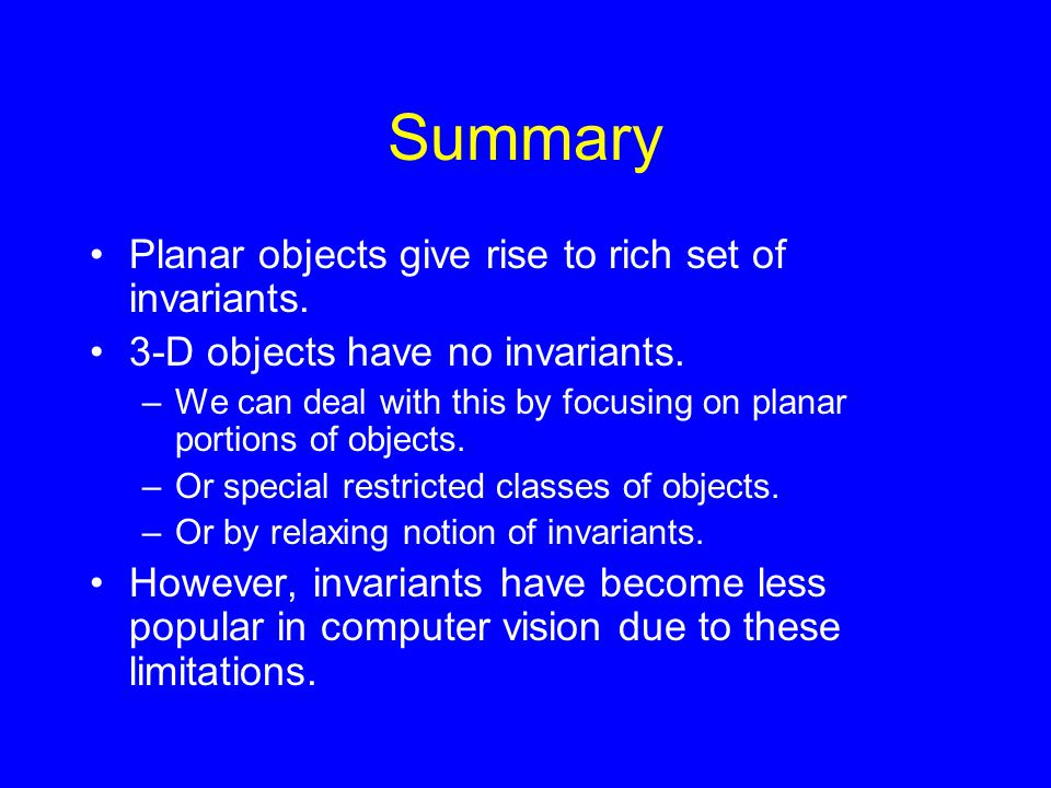 Summary Planar objects give rise to rich set of invariants.