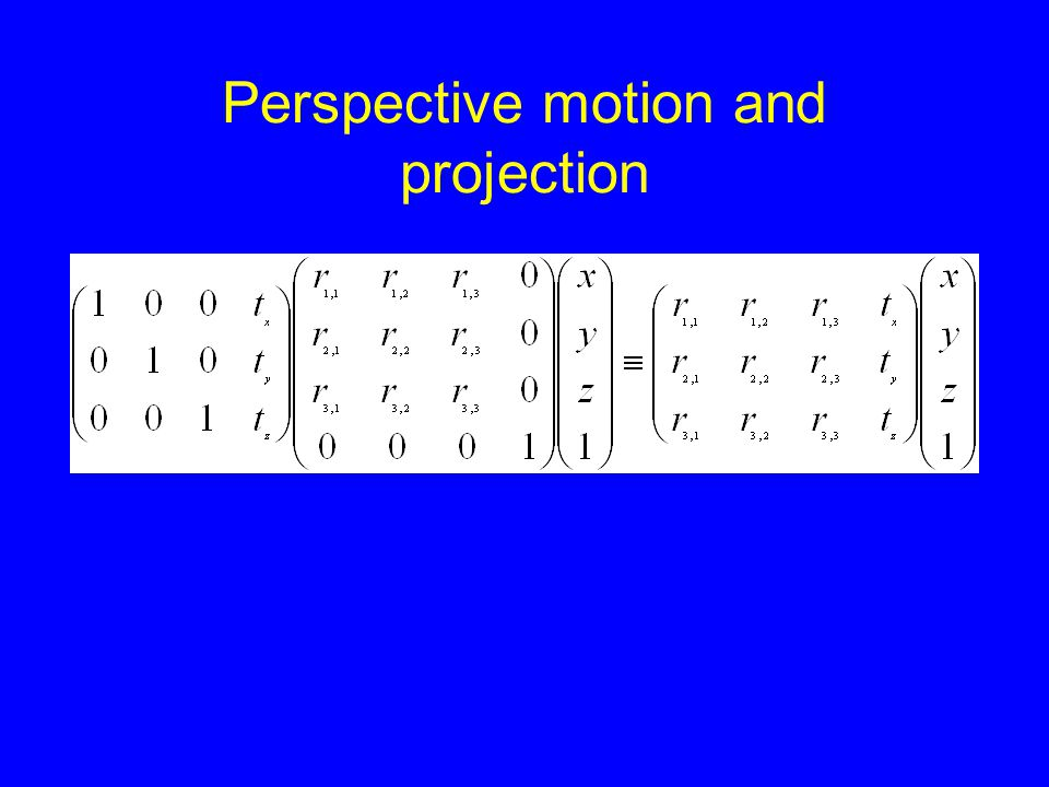 Perspective motion and projection