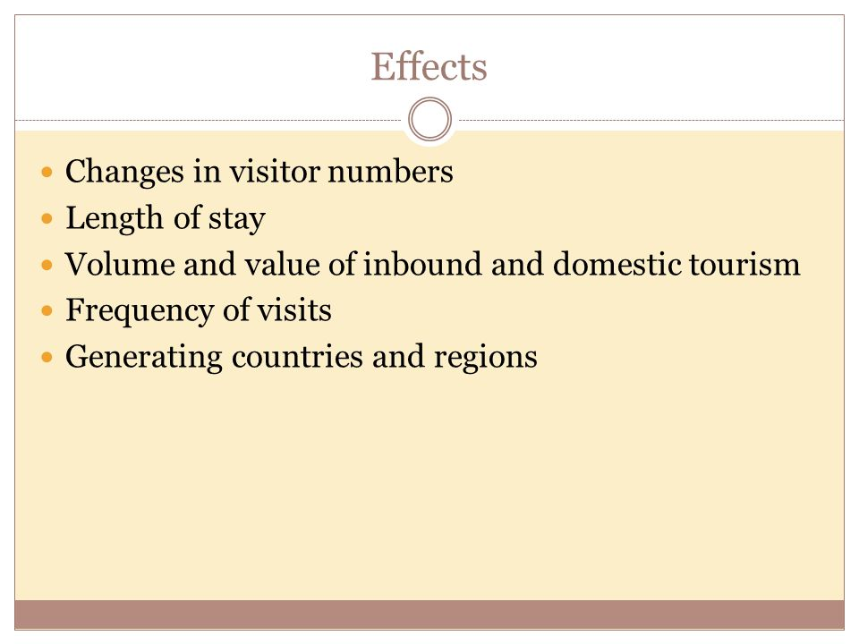 Effects Changes in visitor numbers Length of stay
