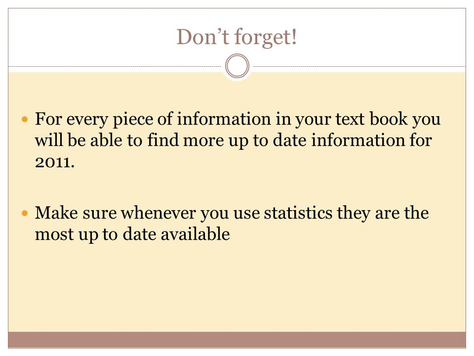 Don't forget! For every piece of information in your text book you will be able to find more up to date information for 2011.