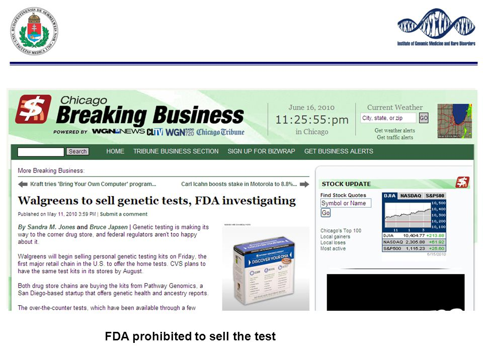 FDA prohibited to sell the test