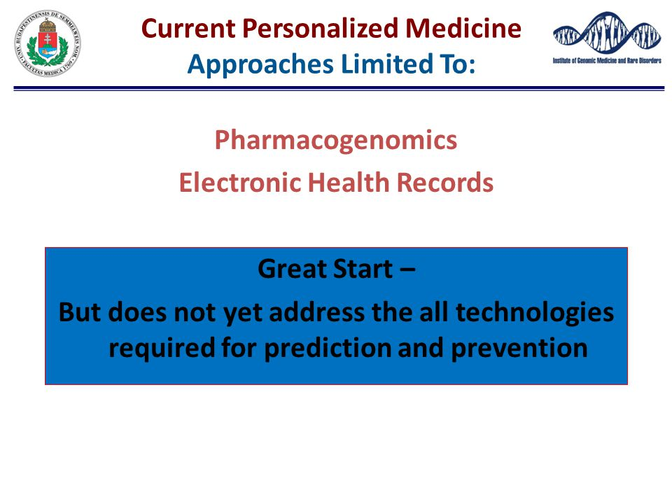 Current Personalized Medicine Approaches Limited To: