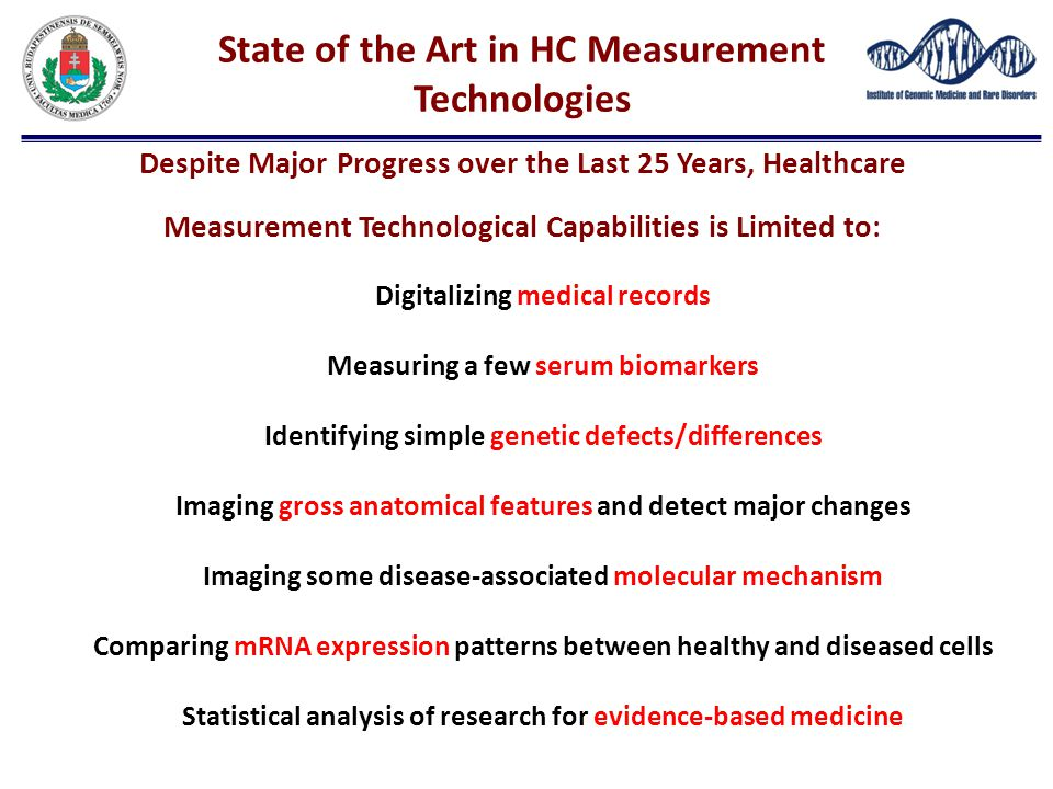 State of the Art in HC Measurement Technologies Despite Major Progress over the Last 25 Years, Healthcare Measurement Technological Capabilities is Limited to:
