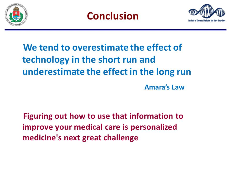 Conclusion We tend to overestimate the effect of technology in the short run and underestimate the effect in the long run.