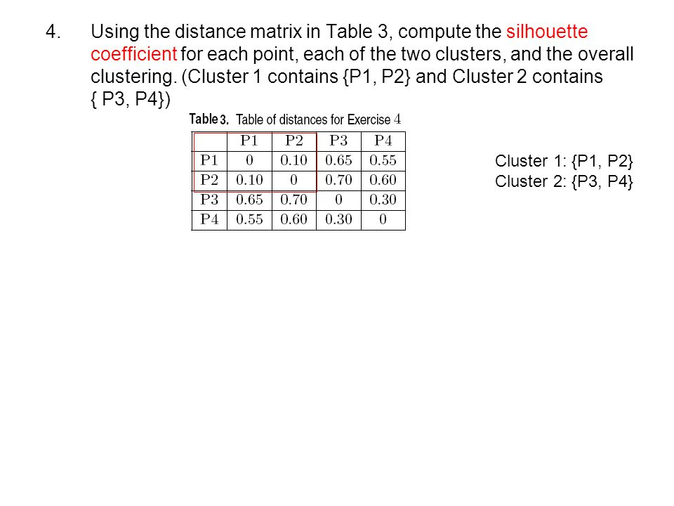 4. Using the distance matrix in Table 3, compute the silhouette coefficient for each point, each of the two clusters, and the overall clustering. (Cluster 1 contains {P1, P2} and Cluster 2 contains { P3, P4})