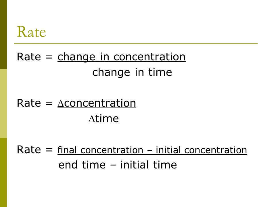 Rate Rate = change in concentration change in time