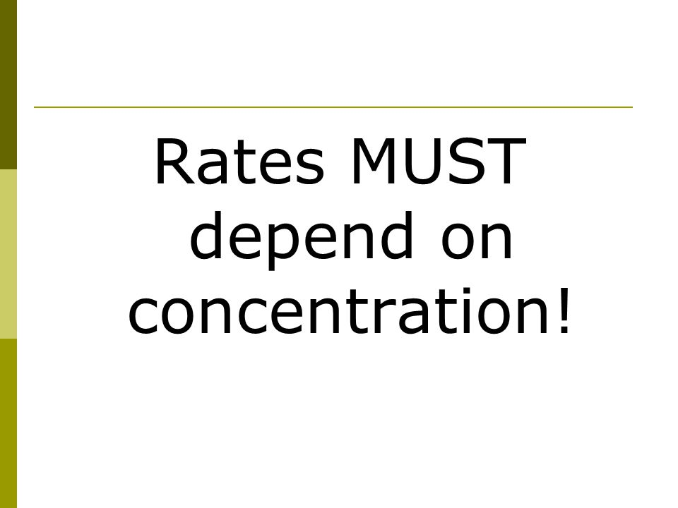 Rates MUST depend on concentration!
