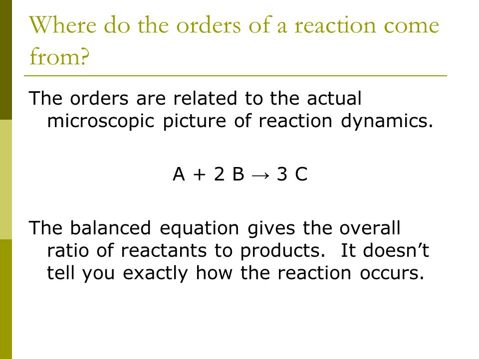 Where do the orders of a reaction come from