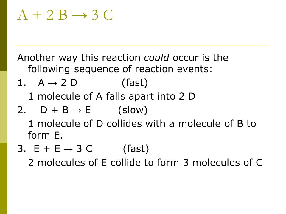 A + 2 B → 3 C Another way this reaction could occur is the following sequence of reaction events: 1. A → 2 D (fast)