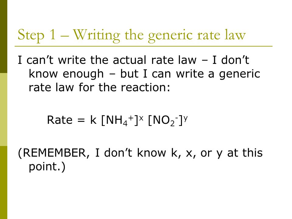 Step 1 – Writing the generic rate law
