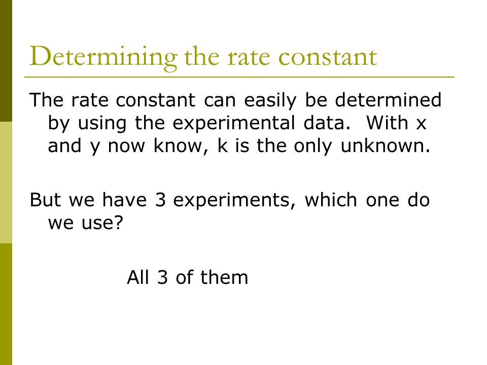 Determining the rate constant