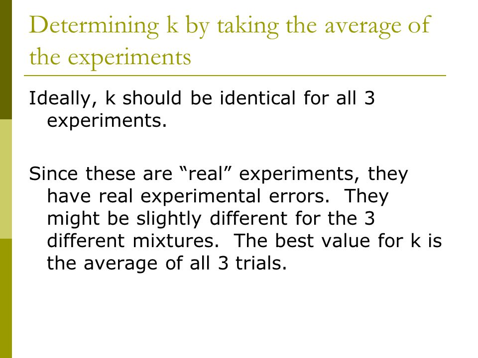 Determining k by taking the average of the experiments