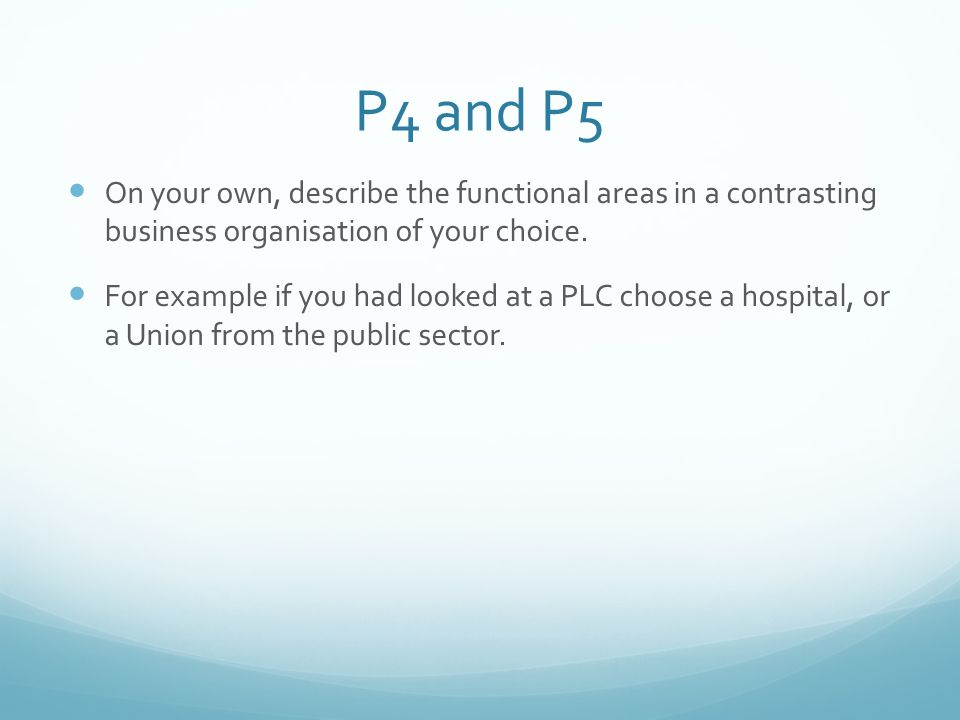 P4 and P5 On your own, describe the functional areas in a contrasting business organisation of your choice.