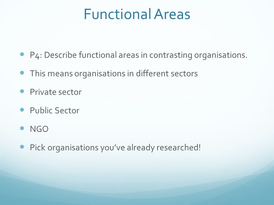 Functional Areas P4: Describe functional areas in contrasting organisations. This means organisations in different sectors.