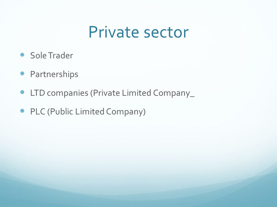 Private sector Sole Trader Partnerships