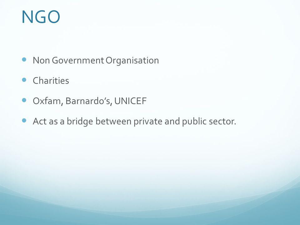 NGO Non Government Organisation Charities Oxfam, Barnardo's, UNICEF