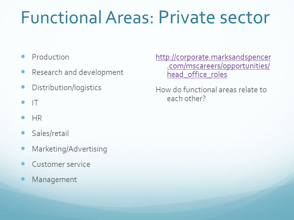 Functional Areas: Private sector