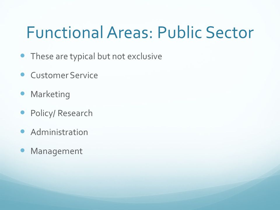 Functional Areas: Public Sector