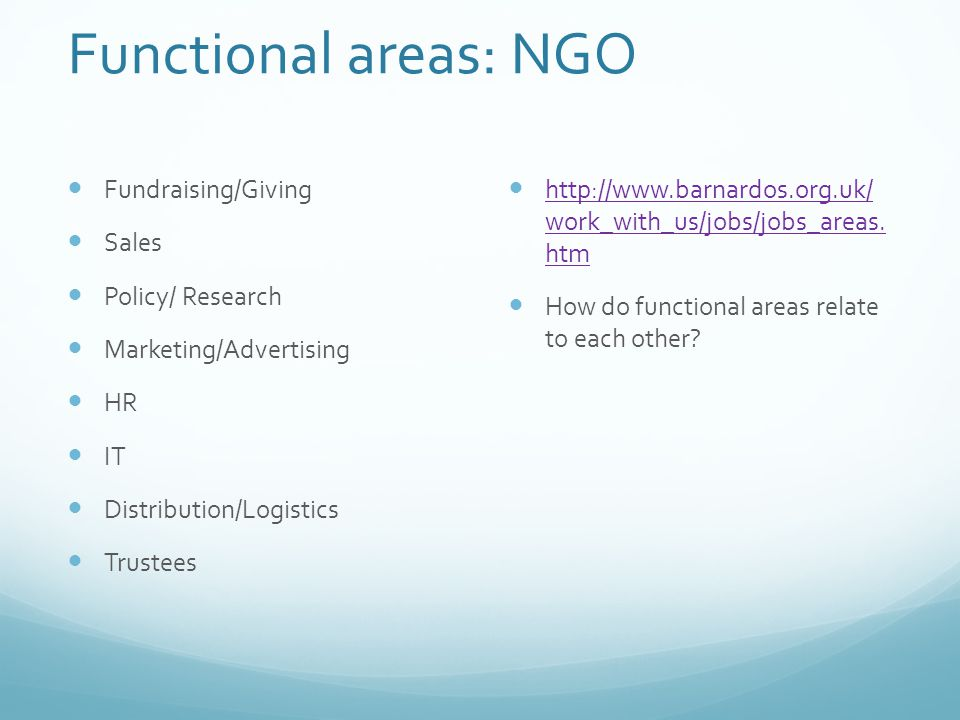 Functional areas: NGO Fundraising/Giving Sales Policy/ Research