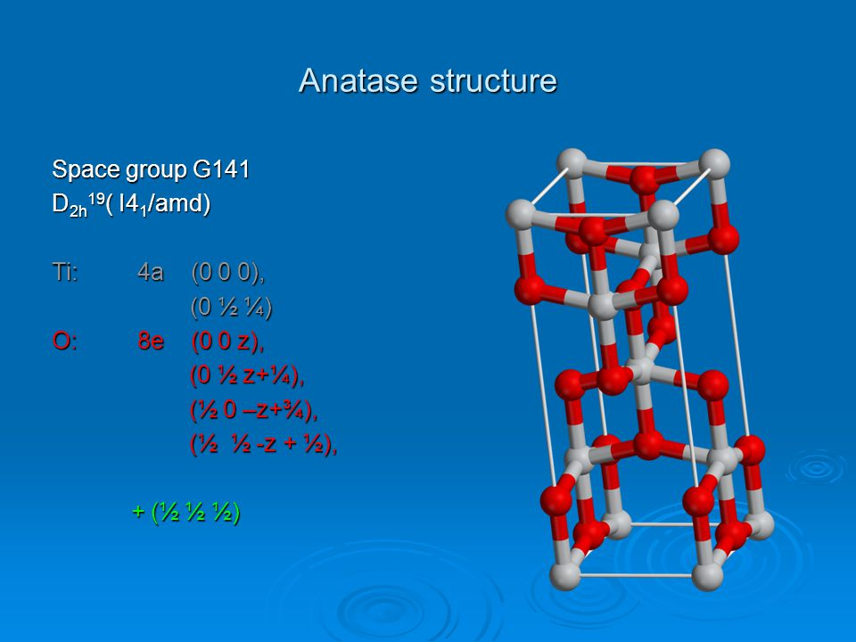 Anatase structure Space group G141 D2h19( I41/amd) Ti: 4a (0 0 0),