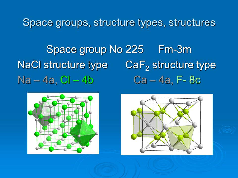 Space groups, structure types, structures