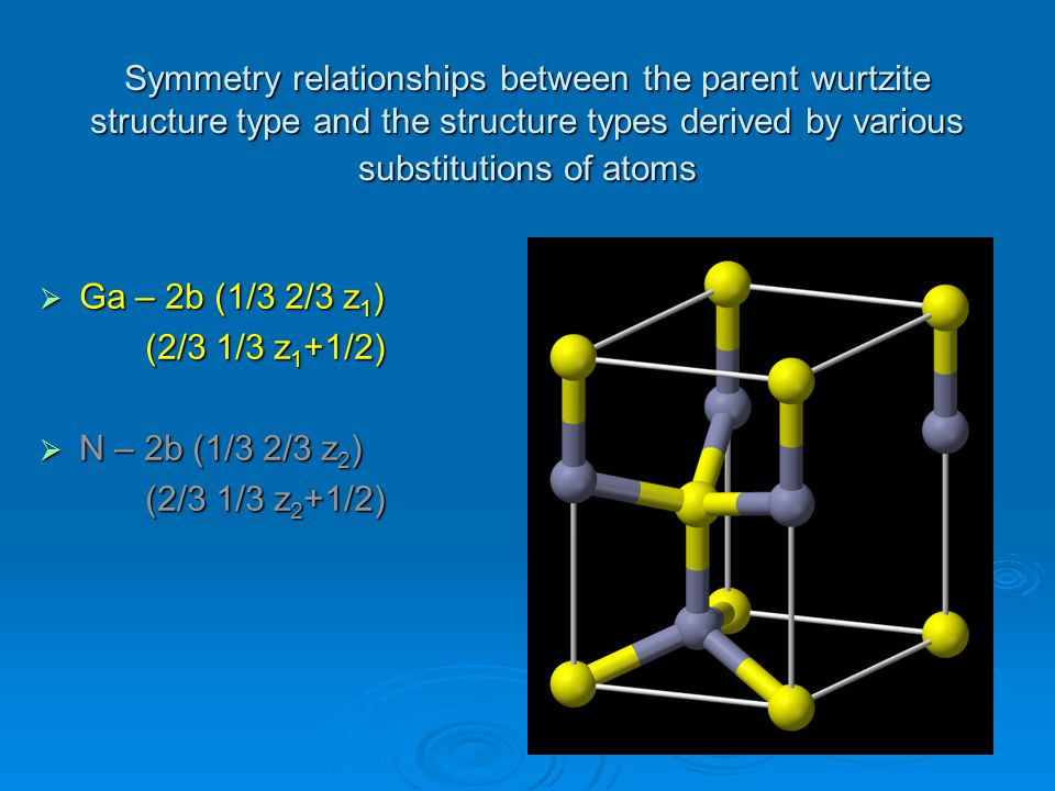 Symmetry relationships between the parent wurtzite structure type and the structure types derived by various substitutions of atoms