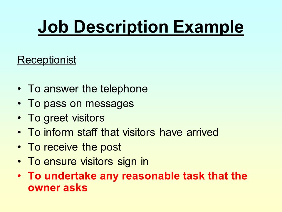 Job Description Example