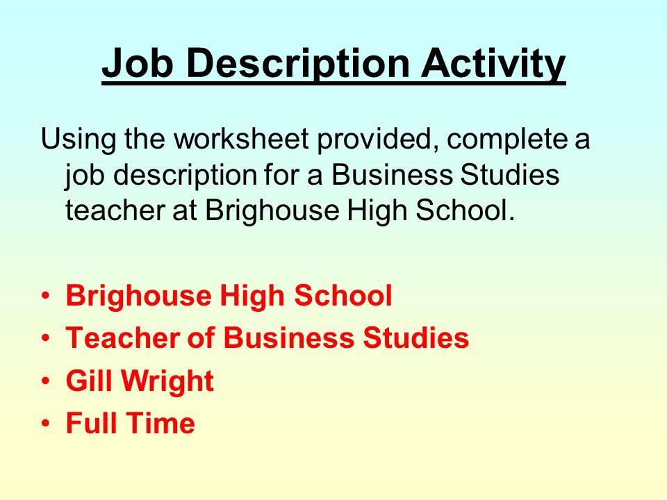 Job Description Activity