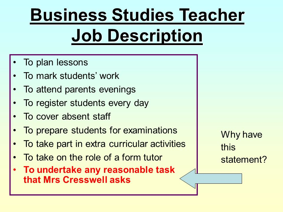 Business Studies Teacher Job Description