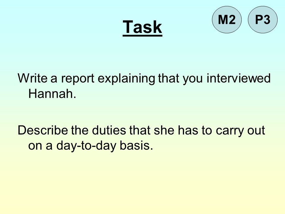 Task M2 P3 Write a report explaining that you interviewed Hannah.