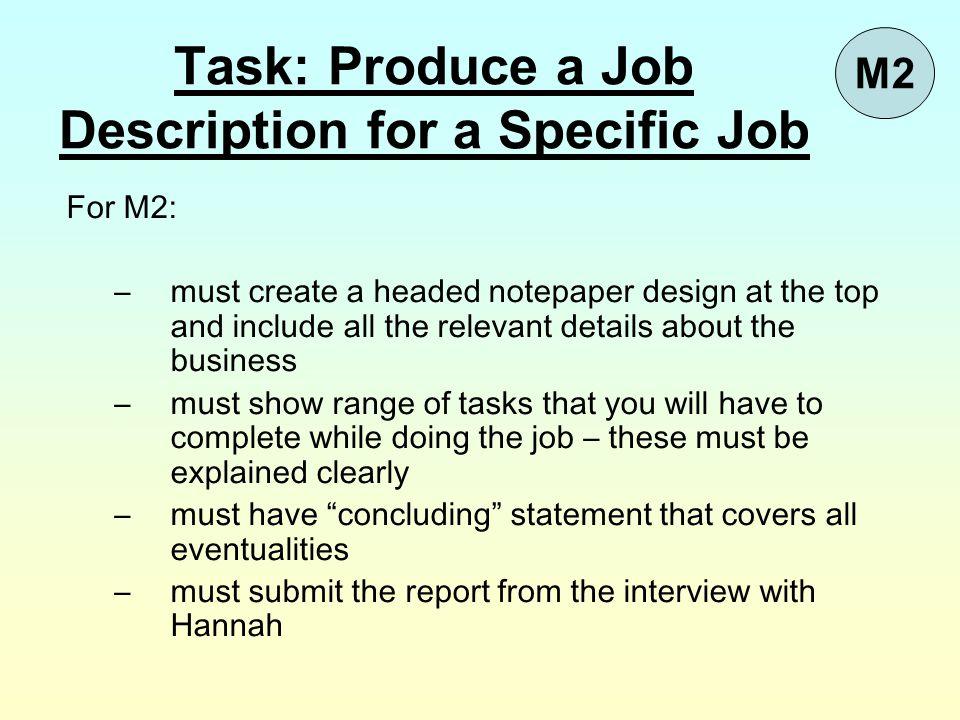 Task: Produce a Job Description for a Specific Job