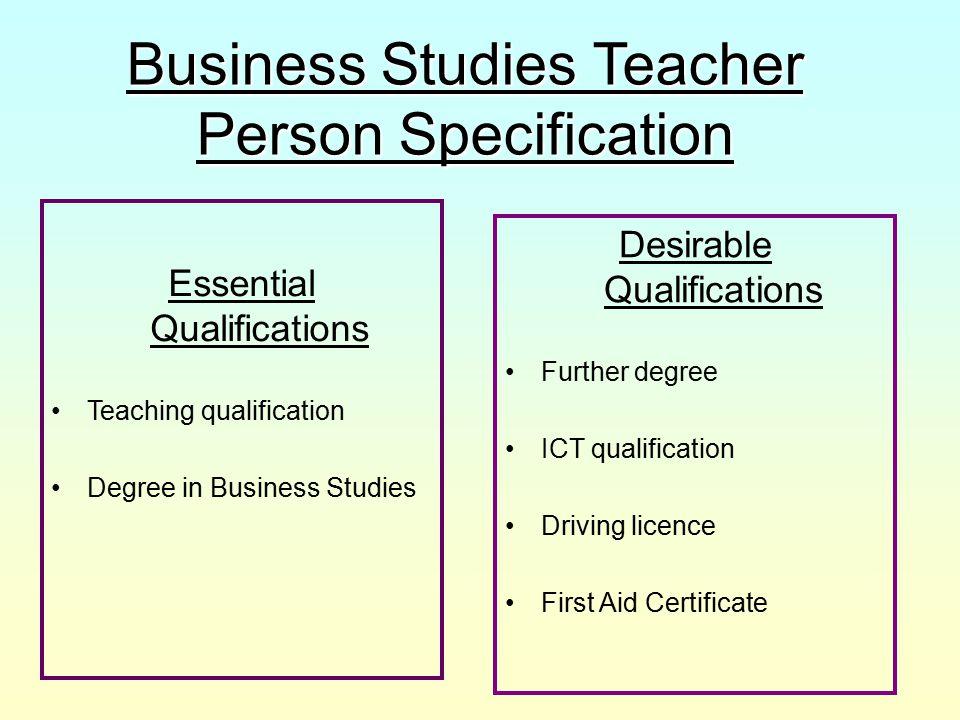 Business Studies Teacher Person Specification