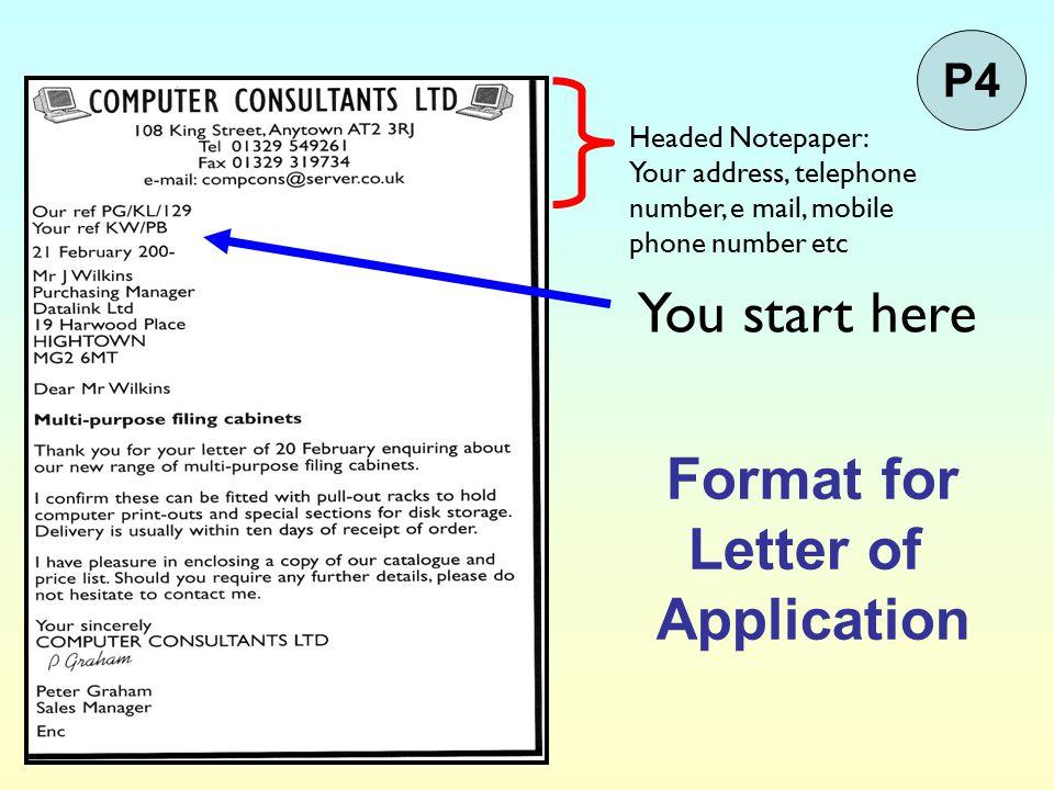 Format for Letter of Application